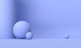3D rendering of the blue geometric space background.