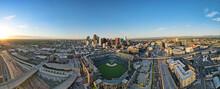 City Skyline Of Denver During Sunrise With Baseball Field