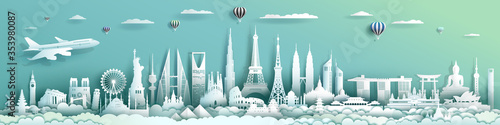 Foto Travel landmarks architecture world with turquoise background.