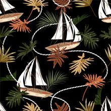 Dark Tropical Leaves ,boat,and...