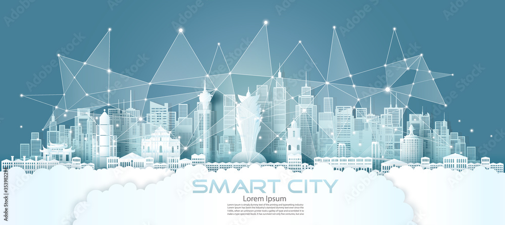 Fototapeta Technology wireless network communication smart city with architecture in Macau.