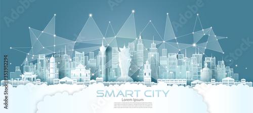 Fototapeta Technology wireless network communication smart city with architecture in Macau. obraz
