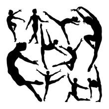 Male Ballet Dancer Poses Silho...