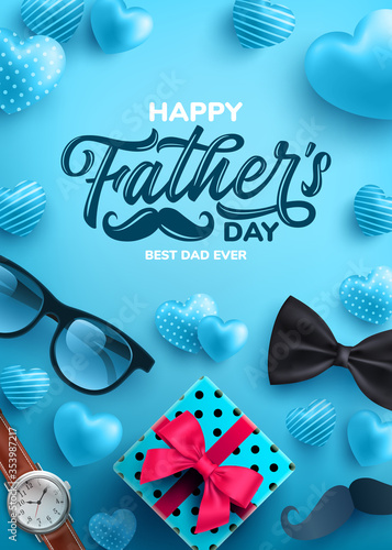 Obraz Father's Day Sale poster with flatlay of Glasses,Necktie,Watch and Gifts for dad.Greetings and presents for Father's Day.Promotion and shopping template for love dad concept.Vector illustration eps 10 - fototapety do salonu