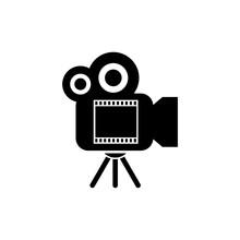 Black Film Camera Icon Isolate...