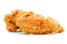 Fried Crispy Chicken On A Whit...