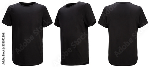 Carta da parati Shirt design and people concept - close up of blank black tshirt front and rear isolated