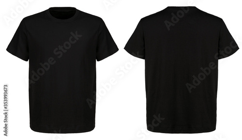 Fototapeta T shirt design and people concept - close up of blank black t-shirt front and rear isolated. Mock up template for design print obraz na płótnie