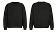 canvas print picture - Black sweater template. Sweatshirt long sleeve with clipping path, hoody for design mockup for print, isolated on white background.