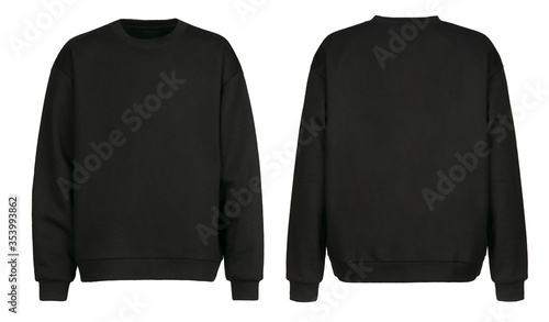 Obraz Black sweater template. Sweatshirt long sleeve with clipping path, hoody for design mockup for print, isolated on white background. - fototapety do salonu