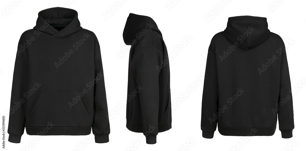 Fototapeta Blank black hoodie template. Hoodie sweatshirt long sleeve with clipping path, hoody for design mockup for print, isolated on white background.