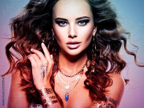 Fotografie, Obraz Woman Fashion Hair Jewelry Beautiful Make-up