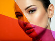 canvas print picture - Beautiful white girl with bright eye-makeup. Beautiful fashion woman with  a colored  items.   Glamour fashion model with bright gloss make-up posing at studio. Stylish fashionable concept. Art.