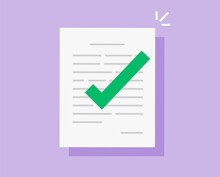 Approved And Confirmed Document File With Check Mark Icon Flat Cartoon, Concept Of Agreement Or Contract Symbol With Checkmark, Accepted Or Certified License Paper Form