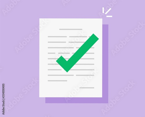 Approved and confirmed document file with check mark icon flat cartoon, concept Canvas Print