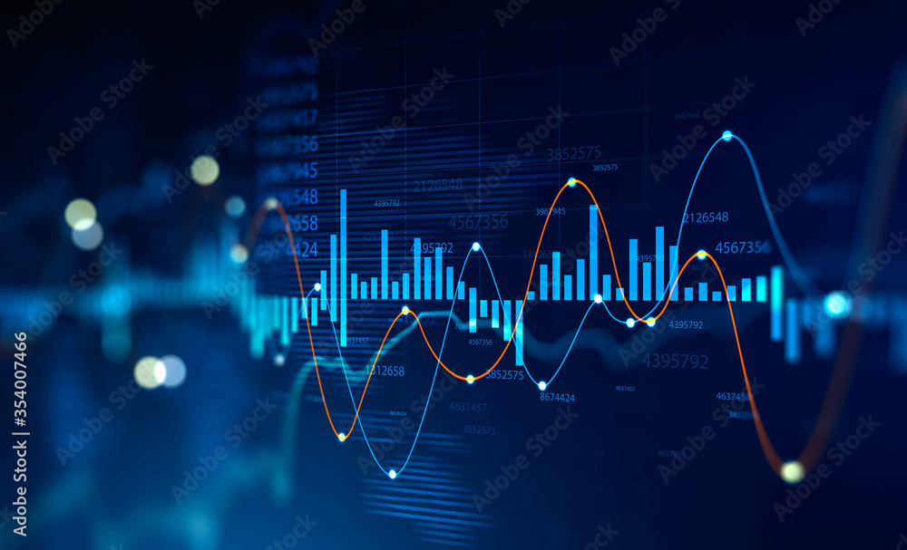 Fototapeta Stock market and trading, digital graph