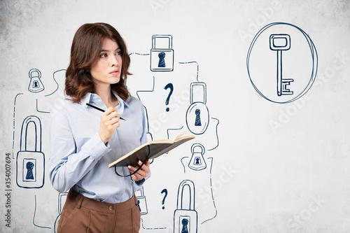 Fototapeta Pensive woman with notebook, problem solving obraz