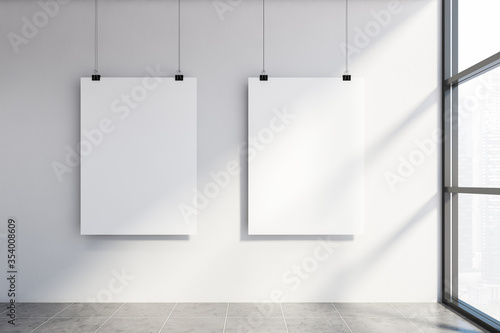 Obraz Two mock up poster in white wall room - fototapety do salonu