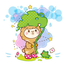 Vector Cartoon Illustration, Kawaii Kids Style. Abstract Anime Big-headed Smiling Llama (or Alpaca) With Monstera Plant And Cute Frog Under The Rain. Background With Clouds, Stars, Water Drops