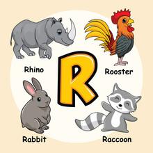 Cute Animals Alphabet Letter R...