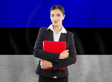 Young Woman With Red Notebook. Education Or Business Concept