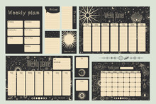 Monthly And Weekly Planner. Magical Image Of Cosmic Bodies, Stars, Constellations, The Sun And The Moon. Retro Vintage Vintage Style Engraving. Astrology And Horoscope. Vector Graphics