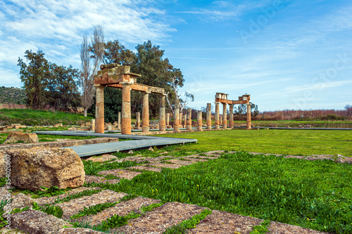 Temple of Artemis in archaeological site of Brauron, Attica, Greece Canvas Print