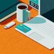 Leinwandbild Motiv Online shopping with a credit card,3D illustration