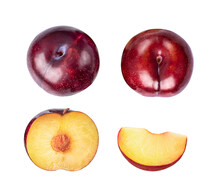 Ripe Plums On White Background...