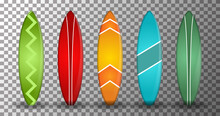 Realistic Surfboard Vector With Several Shapes And Colors On A Transparent Background. Isolated Vector Design