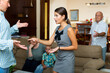 Leinwandbild Motiv Family of five having quarrel at home