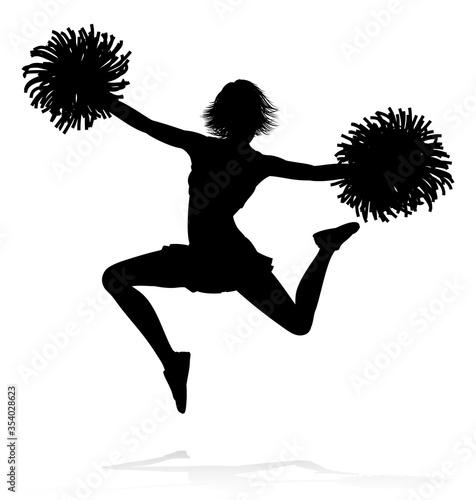 Fotografía Sports cheerleader in silhouette with pompoms