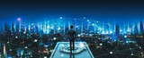 Fototapeta Miasto - Business man on future network city technology background