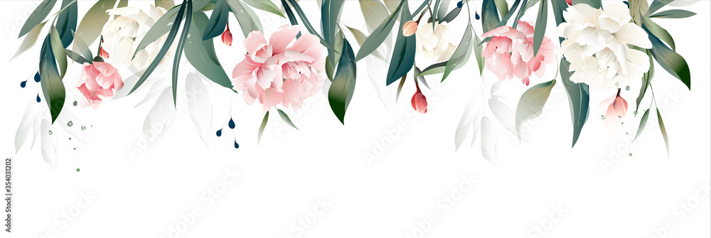 Fototapeta vector watercolor flowers. floral illustration, Leaf and buds peony. Botanical composition for wedding or greeting card. Border, branch of flowers - peonies