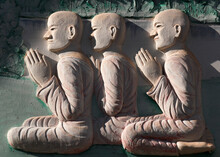Fresco Of Three Praying Monks ...