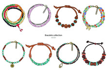 Collection Of Handmade Bracelets In Ethnic Style. Color Vector Illustration Isolated On A White Background.
