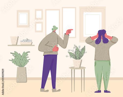 Fototapeta Pair of people conflict. Quarrel vector design. obraz na płótnie