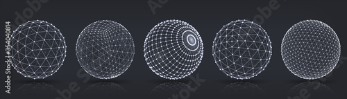 Fototapeta Grid spheres. Realistic 3D globes with abstract net or wireframe for chemical or biology, infographic, round particles structure concept. Vector set connect in circle wireframe structure obraz