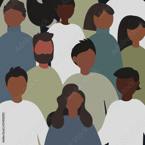 Obraz Black Lives Matter concept. Seamless pattern with young afro american people. Idea of demonstration for racial equality. Flat vector illustration - fototapety do salonu