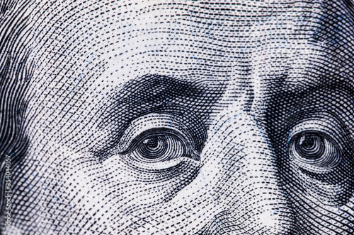 Macro close up of Ben Franklin's face on the US $100 dollar bill. Wallpaper Mural
