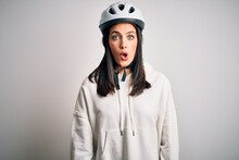 Young Cyclist Woman With Blue ...