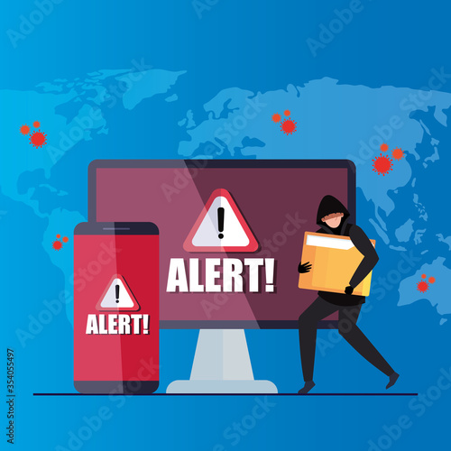 Obraz hacker with laptop and smartphone, danger warning sign during covid 19 pandemic vector illustration design - fototapety do salonu