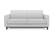 White Realistic Modern Sofa. Furniture For The Living Room Or Lounge.