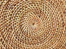 Closeup Texture Of Fashionable Handmade Natural Organic Round Rattan Bag: Isolated Straw Circle Balinese Crossbody Shoulder Bag