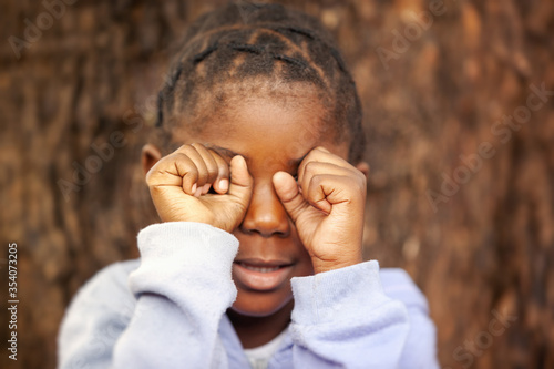 Canvastavla sad African girl
