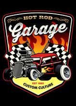 Shirt Design Of Hot Rod Car Garage