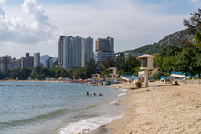 Hong Kong, China - May 16 2020: Golden Beach And Cafeteria Beach At Hong Kong Gold Beach. It  Is A Private Housing Estate Served By Castle Peak Road.