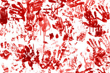 Bloody Hand Prints With Blood ...
