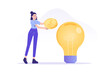 Crowdfunding concept. Successful business woman investing money in big idea or business startup. Entrepreneur business strategy. Online service to donate, support or raise money. Vector illustration
