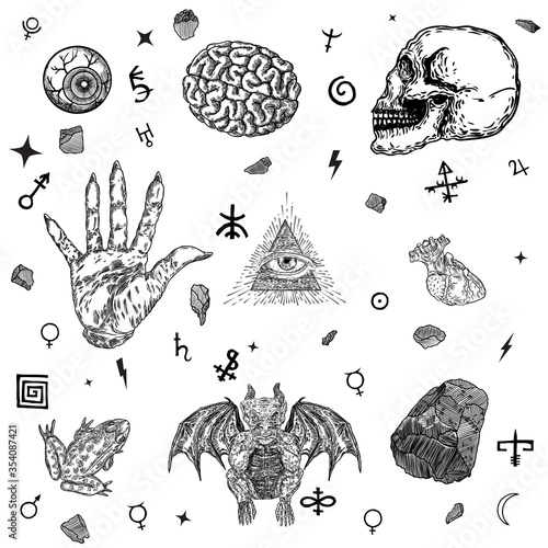 Leinwand Poster Occult alchemy symbols and alphabet elements set